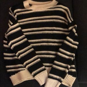 H&M Sweaters - Stripped black and white fuzzy sweater